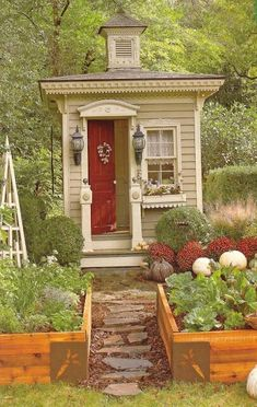 pretty garden shed, very adorable.  Not going to happen in a home of men, though