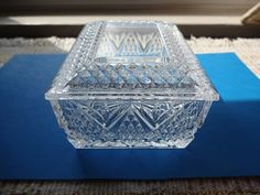 Vintage Glass Cigarette Lidded Trinket Box Handsome classic glass box sized to hold just about anything from cigarettes cards game trinkets and make a dresser jewelry holder The top has Glass Boxes, Jewelry Holder, Little Sisters, Trinket Boxes, Clear Crystal, Card Games, Dresser, Decorative Boxes, Handsome