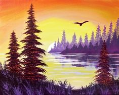 "Based on a real place! ""'Lake Sunset' came from a memory of a view on vacation in Yellowstone, when I saw a bald eagle fly over a lake trying to catch a fish."" Read more about the artist and her inspiration!"