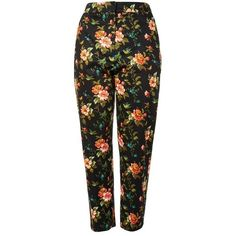 Floral Jacquard Cigarette Trousers (2.760 RUB) via Polyvore featuring pants, tailored trousers, legging pants, relaxed pants, relaxed fit pants и tailored pants