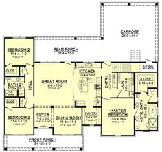 1900 sq ft 3 Bed Acadian Home Plan with Bonus Over Carport - floor plan - Main Level Acadian Homes, Acadian House Plans, Barn House Plans, New House Plans, Dream House Plans, House Floor Plans, European Plan, European Style, European House
