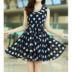 Chic Style Ruffled Polka Dot Chiffon Dress