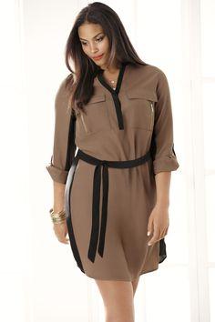 Colorblock Shirt Dress. Curves look fierce in this flattering silhouette! #LaneBryant