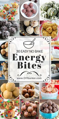 30 No Bake Energy Bites. These no bake energy balls are to die for! These no bake energy bites are the perfect snacks to munch on when you're dieting. They're nutritious and will help you lose weight easily! Quick Healthy Snacks, Easy Snacks, Healthy Baking, Health Snacks For Work, Snacks Recipes, Quick Recipes, Healthy Snacks For Traveling, Healthy Snack Recipes For Weightloss, Healthy Recipes For Kids