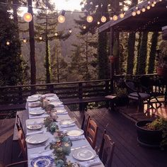 a feast in the forest / sfgirlbybay (right near the house where I grew up! Outdoor Dining, Outdoor Spaces, Dining Tables, Home Modern, Decoration Inspiration, Al Fresco Dining, Cabins In The Woods, Outdoor Entertaining, Tablescapes