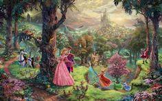 Обои лес, деревья, парк, замок, дракон, мультфильм, дома, сказка, живопись, art, персонажи, Томас Кинкейд, painting, castle, ...