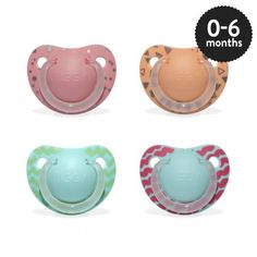Girls 0-6 months Orthodontic Silicone Soother in assorted designs.