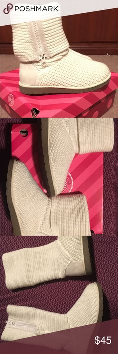 White sweater boots Wear them two different ways. Good condition. SO  Shoes Winter & Rain Boots