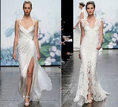 Exclusive Designer Wedding Gown Fashion: Wedding Dress Trends Bridal Gowns Sultry Slits Silk Halter