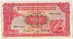 South West Africa Standard Bank of SA 5 pounds banknote - 20 November 1958  - gum residue on reverse