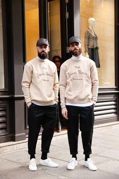 white sneaker + white inner turtle neck black cap +black ankle pants sweatshirt