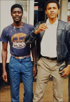 Obama and one of his Kenyan family members. Must be nice knowing who your ancestors are, sigh.