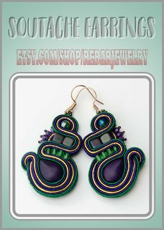 Purple green gold soutache earrings, large everyday or party earrings, colorful handmade soutache jewelry Soutache Earrings, Women's Earrings, Handmade Items, Handmade Jewelry, Online Gifts, Aide, Inspirational Gifts, Green And Gold, Artisan Jewelry