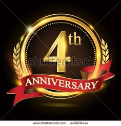 4th golden anniversary logo, with shiny ring and red ribbon, laurel wreath isolated on black background, vector design for birthday celebration.