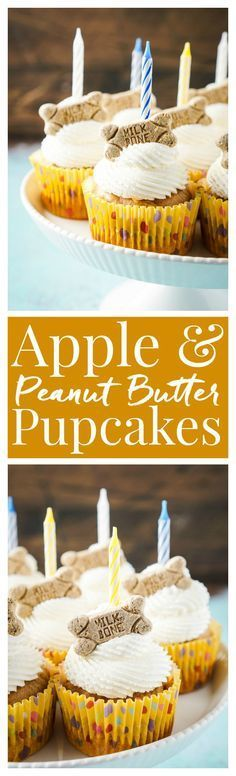 These Apple & Peanut Butter Pupcakes are a great homemade treat for your dog's birthday!