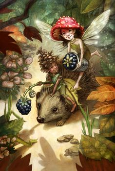 Illustration of two fairies traveling through the woods with blackberries. One fairy is riding on a hedgehog the other fairy is flying. Art by Kiri Østergaard Leonard, Fairy Paintings, Fantasy Paintings, Cross Paintings, Fantasy Art, Woodland Creatures, Magical Creatures, Image Chat, Kobold, Fairy Pictures