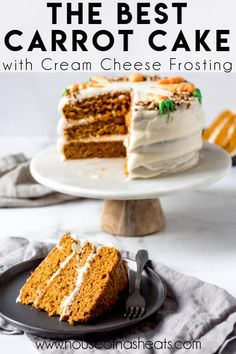 Layers of light and moist cake made with shredded carrots and the perfect balance of warm spices, and topped with a tangy homemade cream cheese frosting, this really is the Best Carrot Cake Recipe ever! #carrotcake #cake #carrots #homemade #best #moist #easy #classic #creamcheesefrosting #easter #dessert