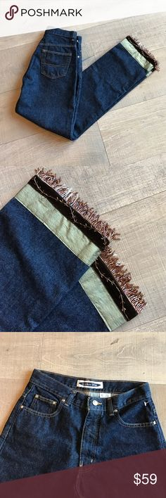 Embellished Jeans NWOT Anchor Blue jeans that have been embellished with velvet, grosgrain ribbon & a beaded design w/fringe. Anchor Blue Jeans Straight Leg