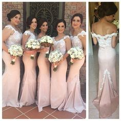 Pink Mermaid Bridesmaid Dress Vestidos Long Sweep Train Maid of honour Dress 2016 Fashion Bridesmaid Gown Cap Sleeve Bridesmaid Dress, Blush Pink Bridesmaid Dresses, Lavender Bridesmaid, Junior Bridesmaids, Sequin Bridesmaid, Dress To Party, Wedding Party Dresses, Prom Dresses, Dress Prom