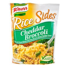 A delicious twist to a traditional side that's ready to eat in minutes! Knorr® Cheddar Broccoli Rice Sides™ is a blend of a rice and pasta mixed with broccoli and a creamy cheddar cheese