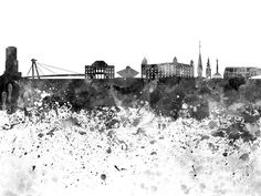 Bratislava Art Print featuring the painting Bratislava Skyline In Black Watercolor On White Background by Pablo Romero