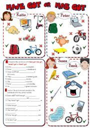 English worksheet: HAVE GOT or HAS GOT *2 pages, 8 tasks*