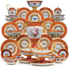 The Marly Rouge Service. A Sevres Porcelain Iron-Red and Sky-Blue Ground Part Dessert Service Made For Napoleon I, Circa 1807-09. Estimate $150,000-250,000