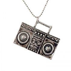 Retro cassette player necklace