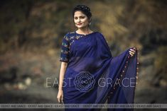 Blue Flame Pure Silk Chiffon Saree with Hand Embroidered Blouse