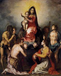 Andrea del Sarto. Андреа дель Сарто (1486-1530). Мадонна с младенцем в Славе с шестью святыми (подробно). 1528 Палаццо Питти.