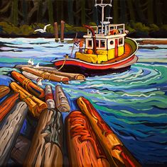 Past Work — Greta Grunow Guzek Canadian Painters, Canadian Artists, Boat Painting, African Artists, Nautical Art, Pastel Art, Naive Art, Artist Art, Landscape Art