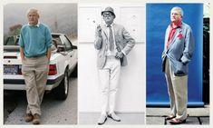 artist, David Hockney in (from left) 1988, 1966 and 1995