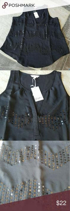 """NWT V-Neck Semi Sheer Tank Top New with tags, black semi sheer v-neck tank with sequins accents. Brand: Candie's. Size: Large. 100% Polyester. When laying flat, from top of shoulder to bottom of tank is approximately 27.5"""" long. Across chest from armpit to armpit is 20"""". No rips, tears, flaws, or defects. Comes from a smoke free home. Final price unless bundled. No trades, no holds, thank you Candie's Tops Tank Tops"""