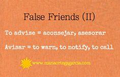 "False Friends (II): ""to advise"" in Spanish"