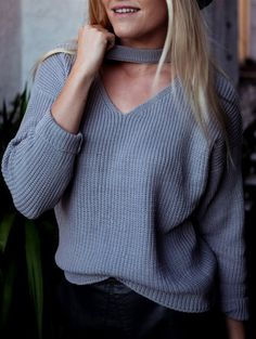 SHARE & Get it FREE   V Neck Ribbed Choker SweaterFor Fashion Lovers only:80,000+ Items • New Arrivals Daily Join Zaful: Get YOUR $50 NOW!