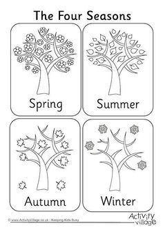 Four seasons colouring page