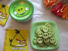 Creative Food: Angry Birds Birthday Party Ideas- Snack/finger food ideas. Pig noses!