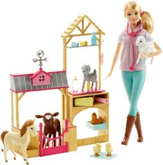 It's farming fun with the Barbie farm vet play set! Barbie doll -- and pet lovers -- will be kept busy caring for the seven animals that live in this barn -- a calf, lamb, pony, baby goat, chicken and