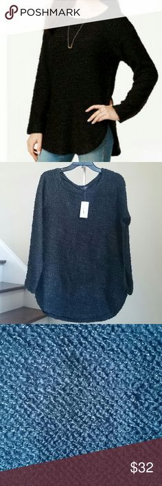 """🆕Jessica Simpson Sweater Beautiful high-low shirt tail sweater with allover Lurex details by Jessica Simpson. 82% Acrylic, 9% wool, 8% Polyester, 1% Other fiber. Size M: bust 38"""", length 28"""". Size L: bust 42"""", length 28"""". Size XL: bust 45"""", length 30"""". 🚨Price Firm!🚨 Jessica Simpson Sweaters"""