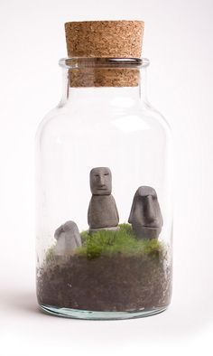 Terrarium....these little Easter island guys would be easy to make out of clay for in the terrarium.