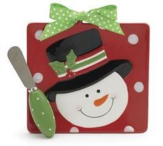 Jolly Snowman Cheese Plate Christmas Believe Ceramic by Believe Collection. $16.44