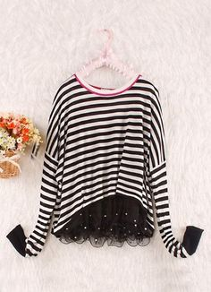 Black White Striped Pearls Lace Hem Long Sleeve T-Shirt. Refashion idea crop the bottom at an angle  and add lace