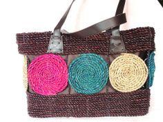 62a3aff652de8 Koszyk torba ze sznurka w piękne kolorowe koła - 4273292400 - oficjalne  archiwum allegro