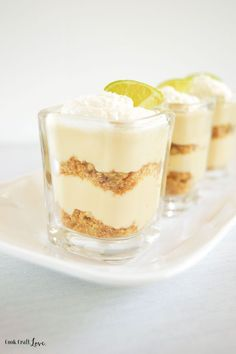 What's better than key lime pie? Key lime you don't have to bake! These amazing no bake key lime pie dessert shooters are a perfect way to glam up your next dinner party!
