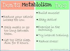 Metabolism (even though this pic spells it wrong) Do's and Don'ts