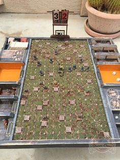 Custom Blood Bowl Pitch, from Steam Crow. http://scouts.steamcrow.com/forums/topic/custom-blood-bowl-arena/