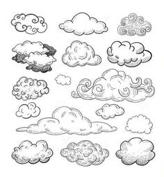 Doodle Collection Of Hand Drawn Vector Clouds.- Doodle Collection Of Hand Drawn Vector Clouds. Stock Vector … – Doodle Collection Of Hand Drawn Vector Clouds. Doodle Drawings, Drawing Sketches, Doodle Doodle, Doodle Frames, Sketching, Tattoo Sketches, Rose Doodle, Doodle Tattoo, Tattoo Drawings