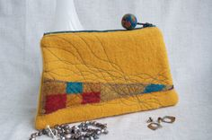 Yellow Abstract - Zippered Wool Handbag - Pouch, Purse, Clutch by cstreetstudio