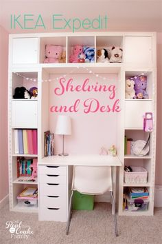 Genius DIY shelving unit and desk using an IKEA Expedit. Perfect storage solution for a child's room, entertainment center, or home office.