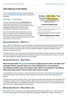 money-sites-review by Bruno Bürgi via Slideshare Earn Money From Home, My Money, Online Marketing, First Time, Articles, Writing, Being A Writer